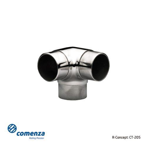 Conector esquinero en acero inoxidable para tubos redondos pasamano.