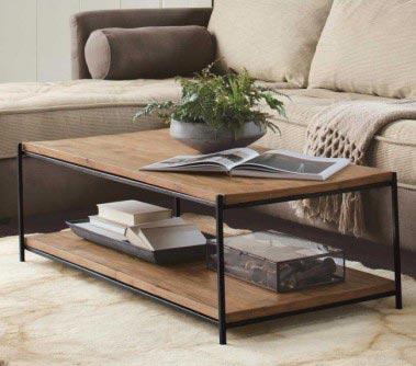 Mesa de café hierro y madera