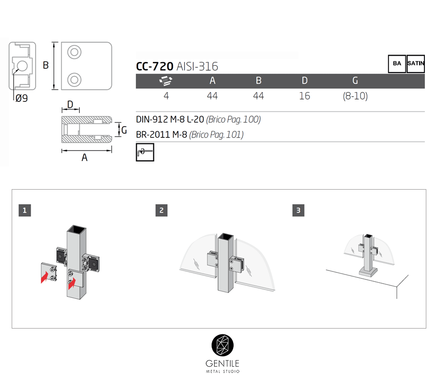 Sistema de mordazas para vidrio en barandillas inox cc-720 - comenza