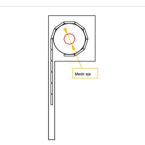 Mediciion del eje de cortina de enrollar