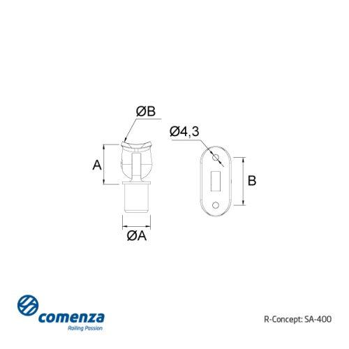 Esquema técnico soporte de acero inoxidable regulable para poste de barandillas.
