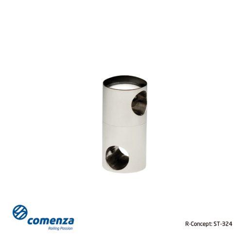Soporte doble de acero inoxidable para tubos de barandillas