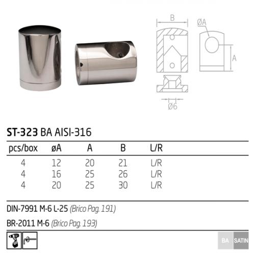 Soporte para tubo transversal redondo de acero inoxidable
