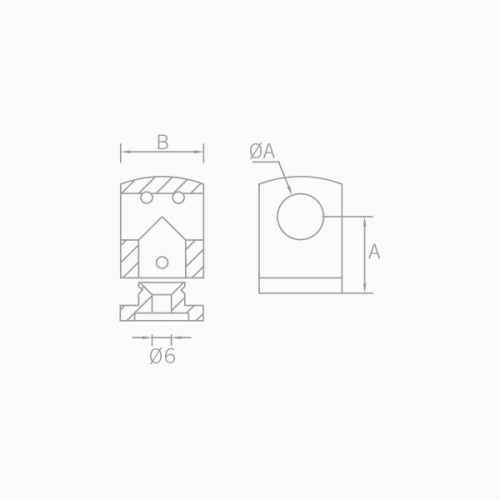 Esquema técnico de transversales barandilla poste cuadrado.