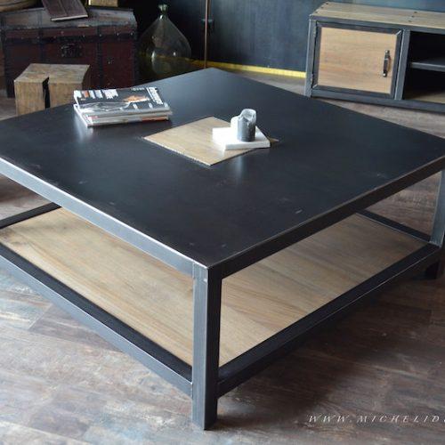 Mesa de centro combinada hierro negro y madera rústica