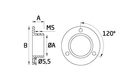 Ficha técnica anclaje a pared para tubo de acero inoxidable AV-601