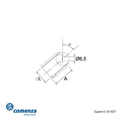 Soporte transversal inox para tubo 20x20