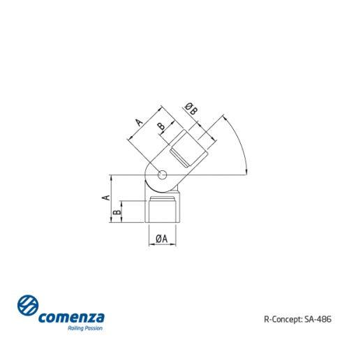 Esquema conector regulable en acero inoxidable para varilla o tubo SA-486