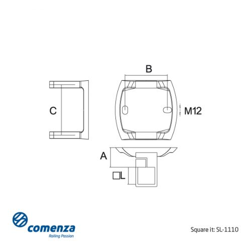 Esquema soporte lateral inox SL-1110