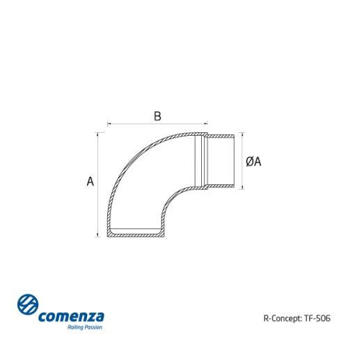 esquema tubo curvado tapa inox