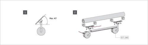 esquema de montaje pasamanos con led de acero inoxidable