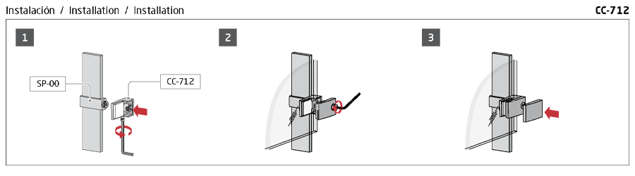 Instrucciones de montaje pinza barandilla vidrio cc-712