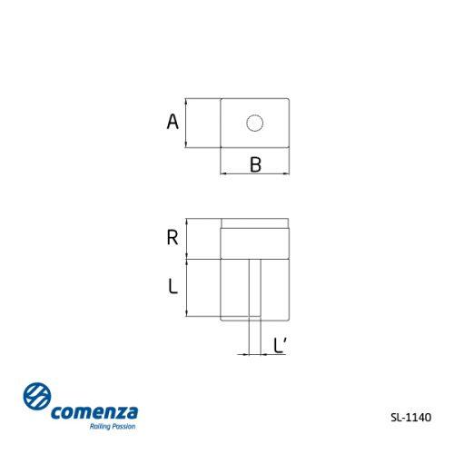 Plano soporte lateral poste rectangular barandilla inox