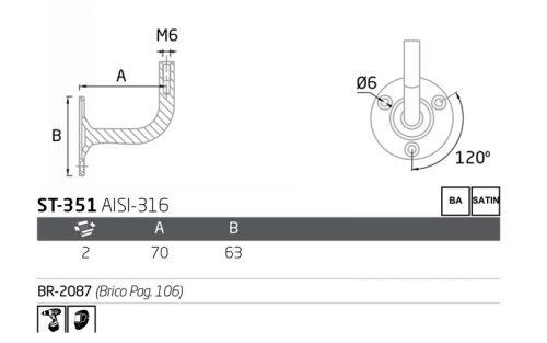 soporte pasamanos ST-351 - ficha tecnica
