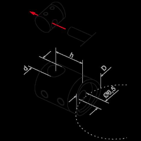 plano de soporte para varilla 10 mm