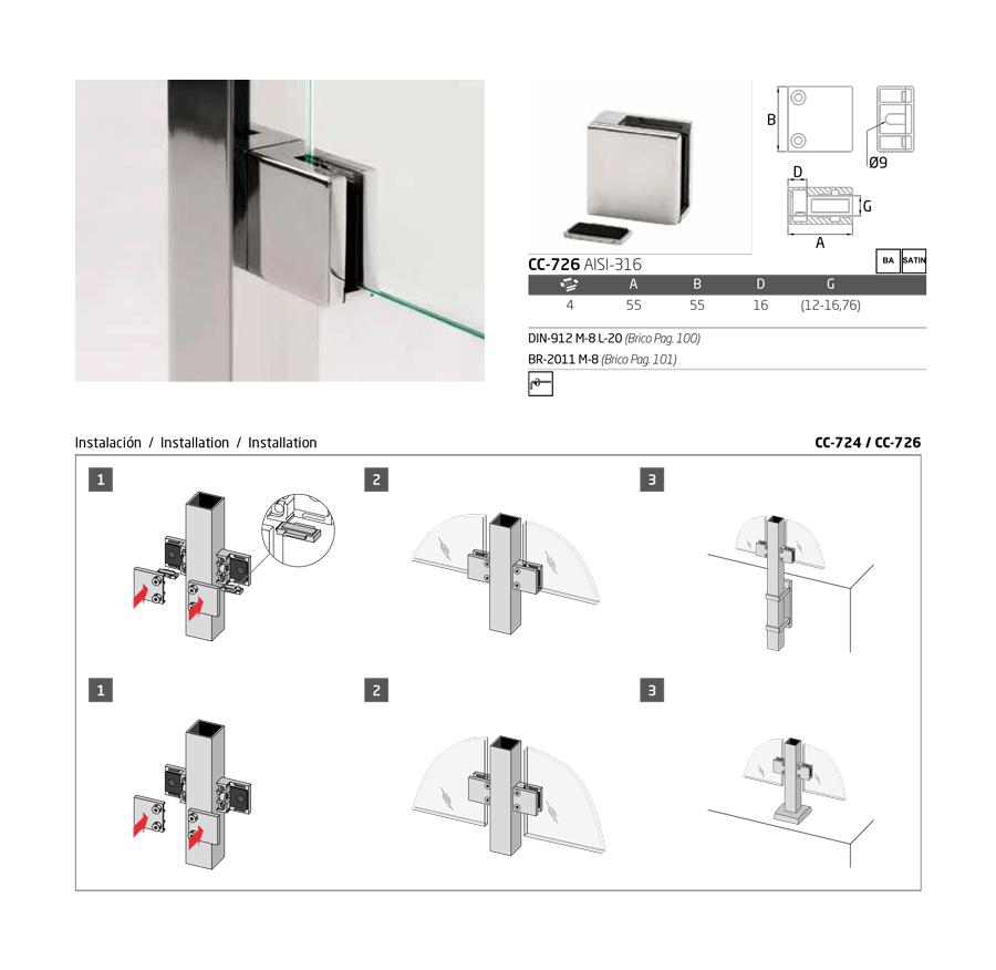 instrucciones montaje pinza vidrio cc-726